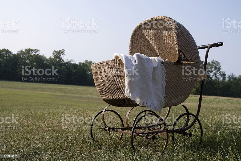 Old-Fashioned Pram in Field royalty-free stock photo