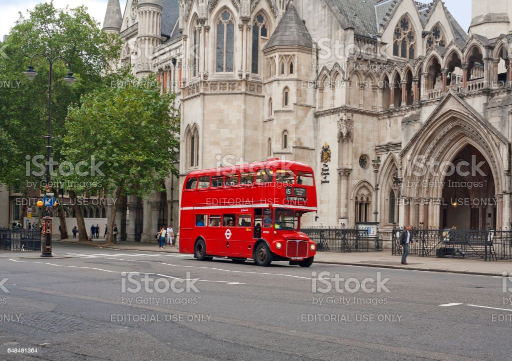 Old-fashioned red double decker in London, United Kingdom stock photo
