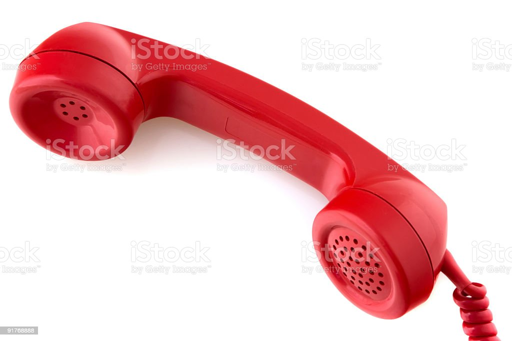 Old-fashioned red telephone receiver royalty-free stock photo