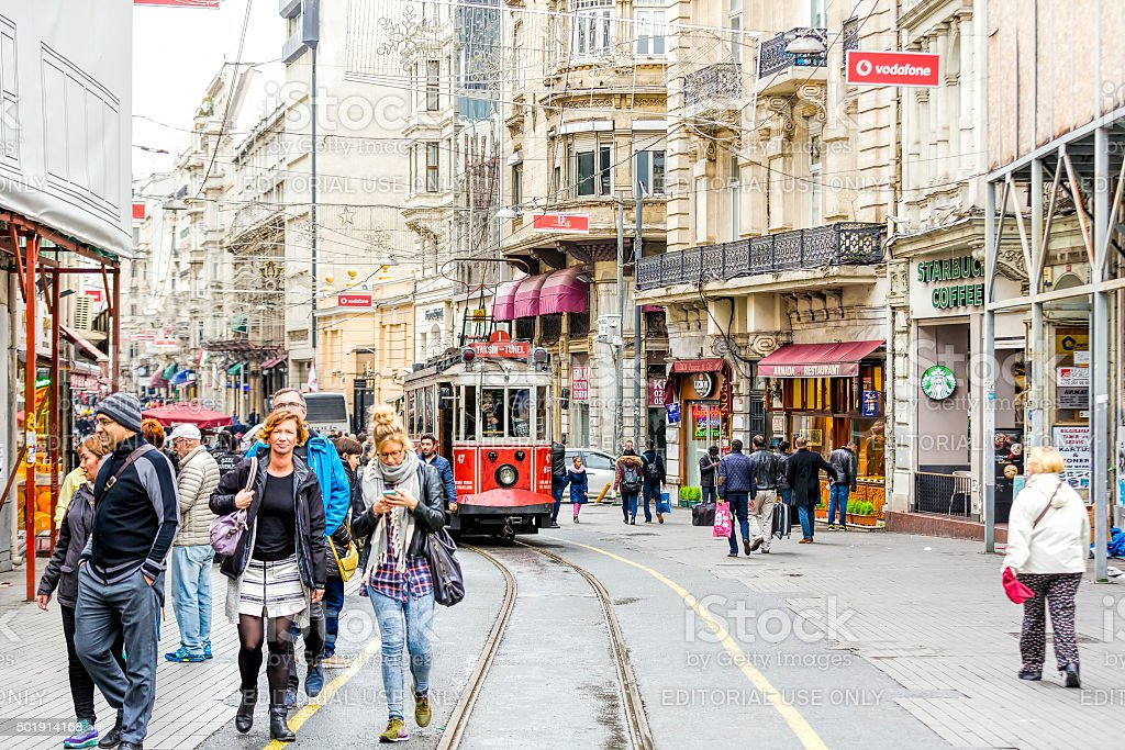 Old-fashioned red tram at the street of Istanbul stock photo