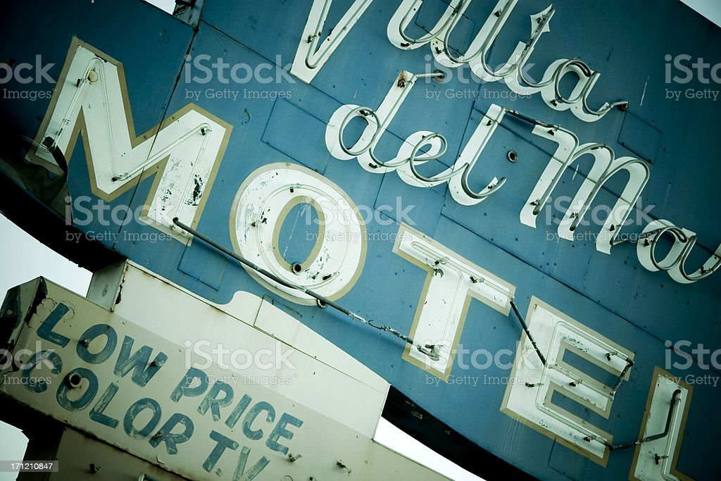 Old-Fashioned Seattle Motel Sign Closeup royalty-free stock photo