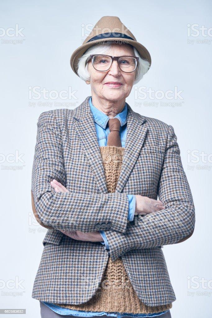 Old-fashioned senior woman stock photo