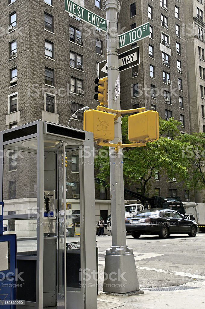 Old-fashioned telephone booth, Manhattan, New York City stock photo