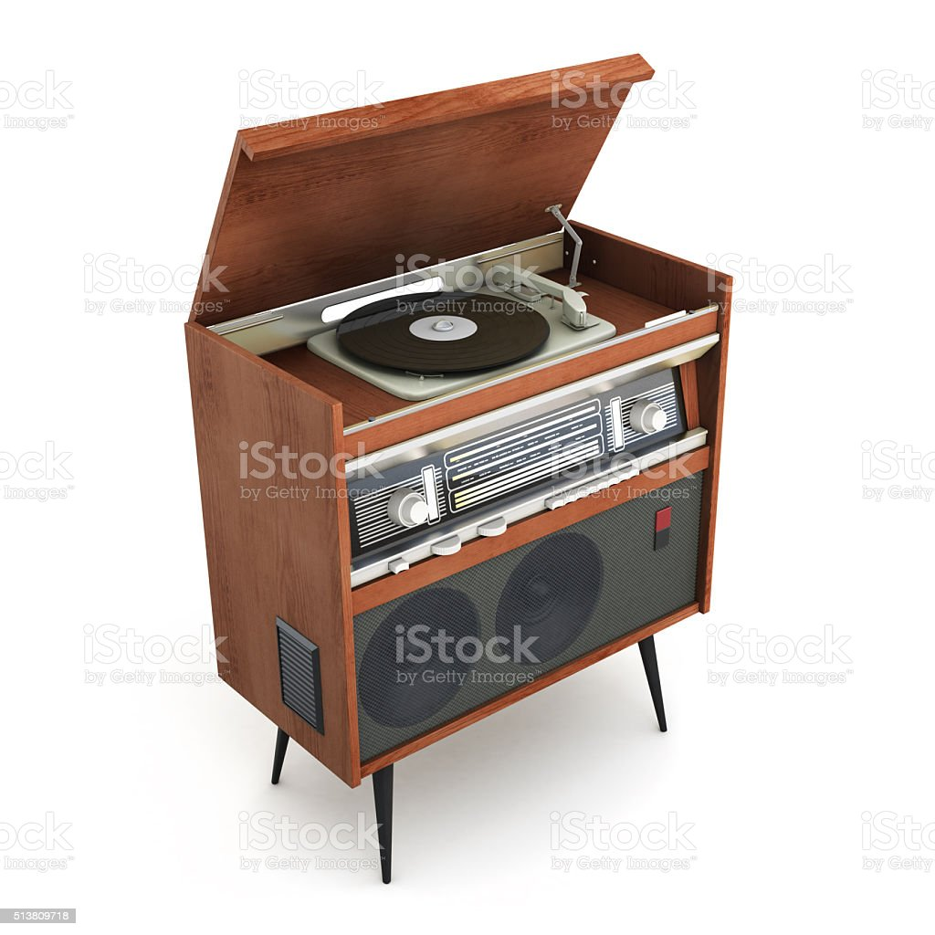 Old-fashioned turntable on legs with open lid. 3d rendering stock photo