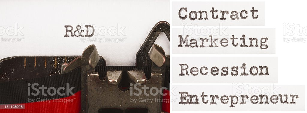 Old-fashioned typewriter, modern business terminology royalty-free stock photo