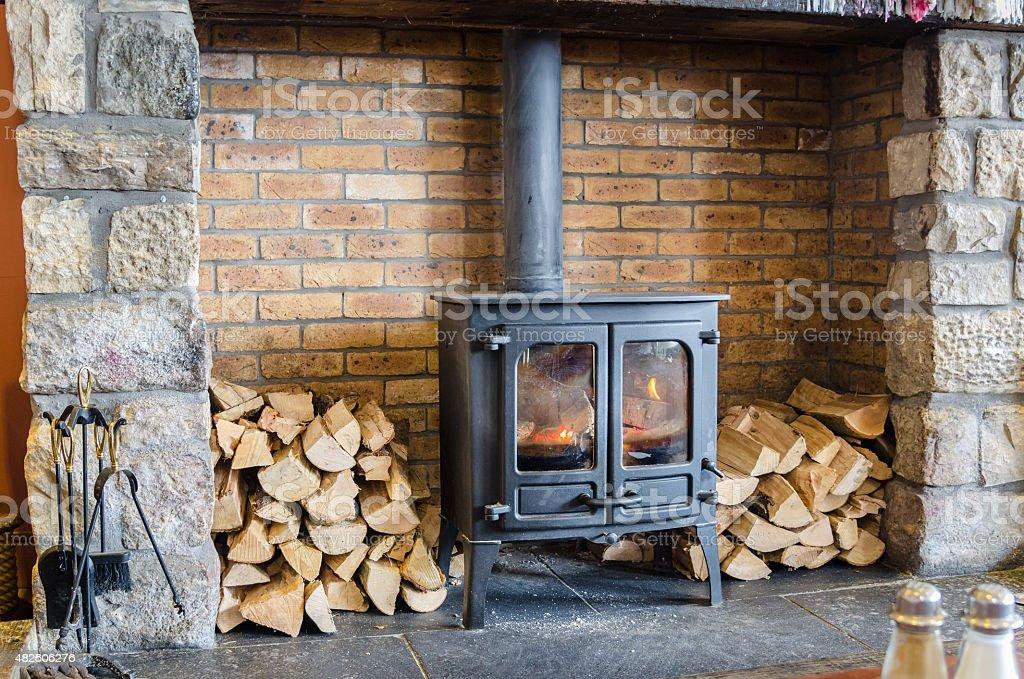 Old-fashioned Wood Burning Stove stock photo