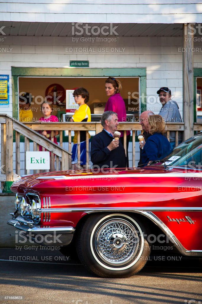 Oldsmobile Super 88 in Front of Ice Cream Parlor stock photo