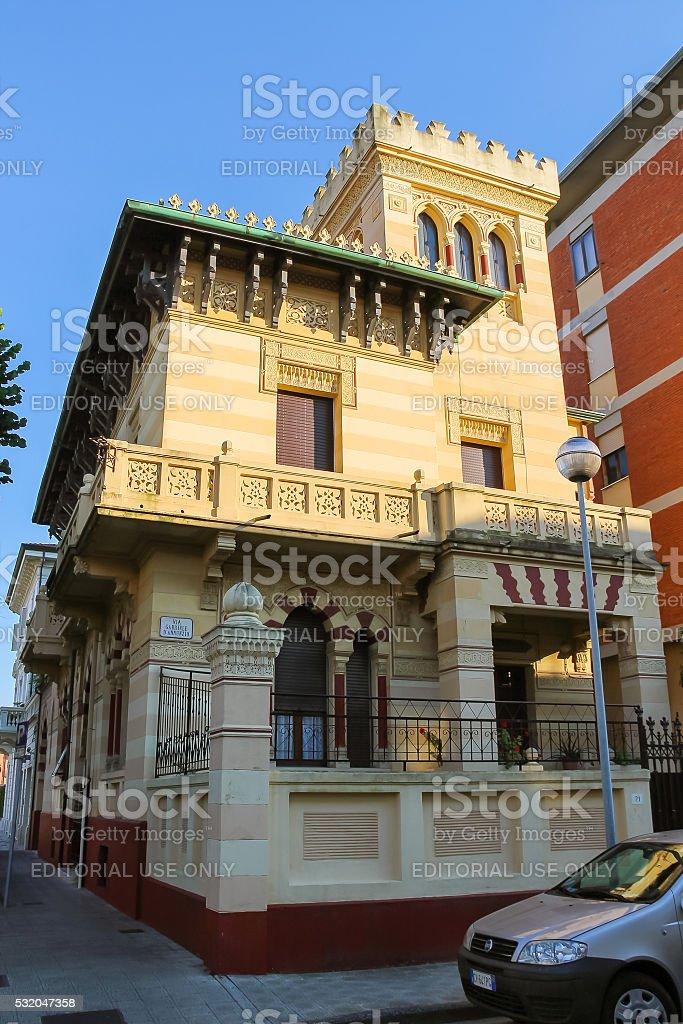 Old-style design house in Viareggio, Italy stock photo