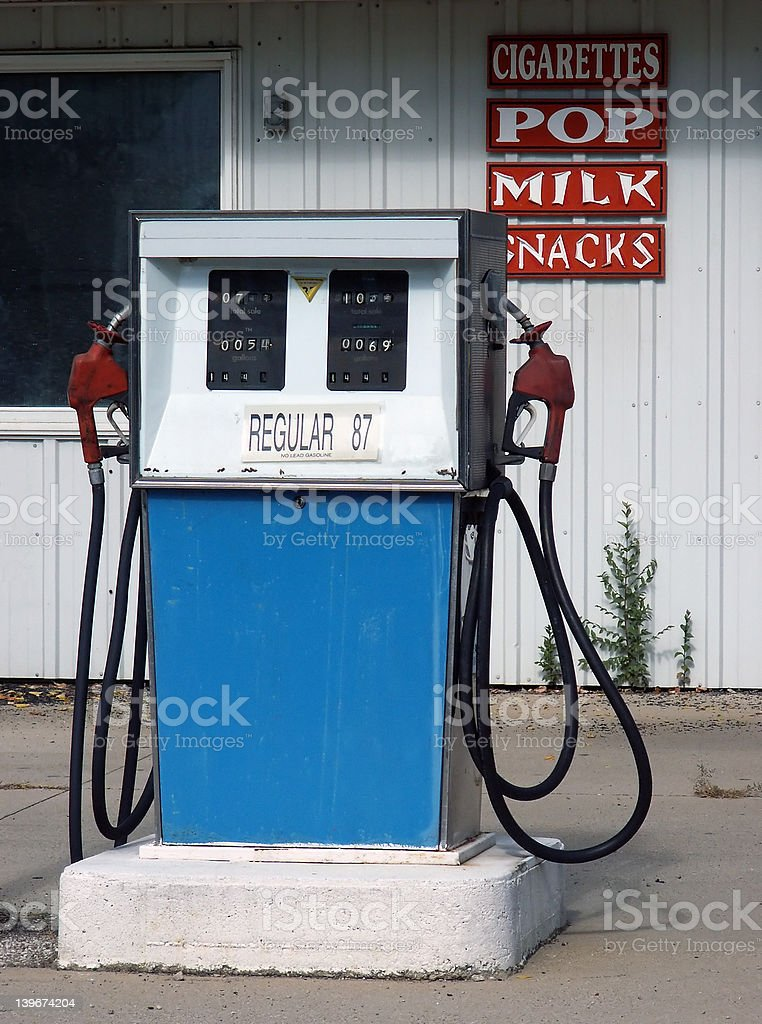 old-style gas pump stock photo