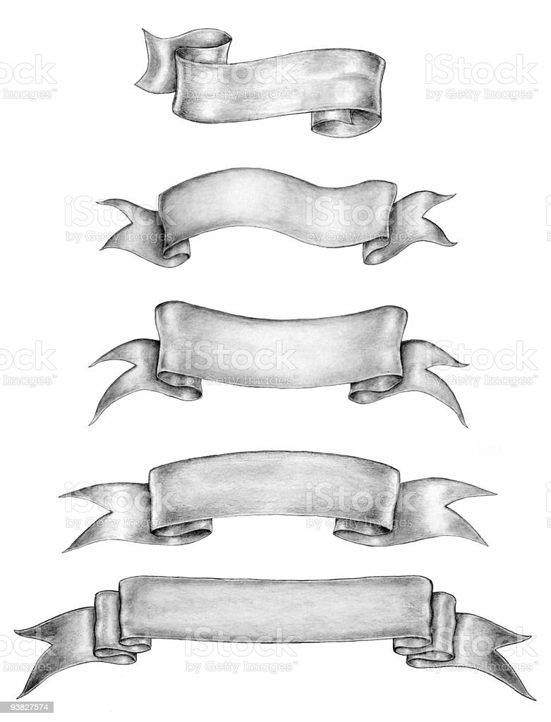 Old-style ink-and-pencil drawings of ribbon banners stock photo