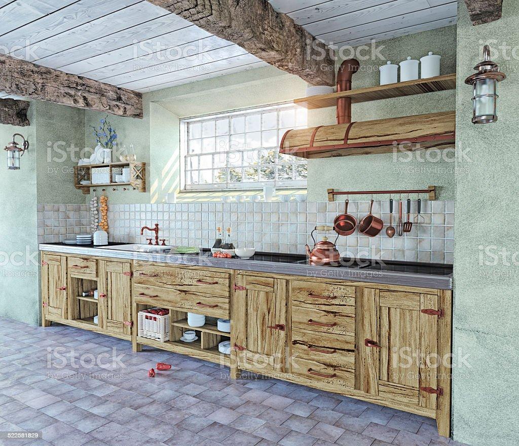 old-style kitchen interior stock photo
