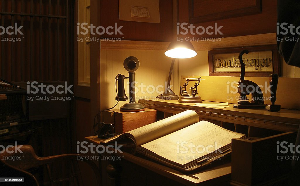 Old-time Banker's Desk stock photo