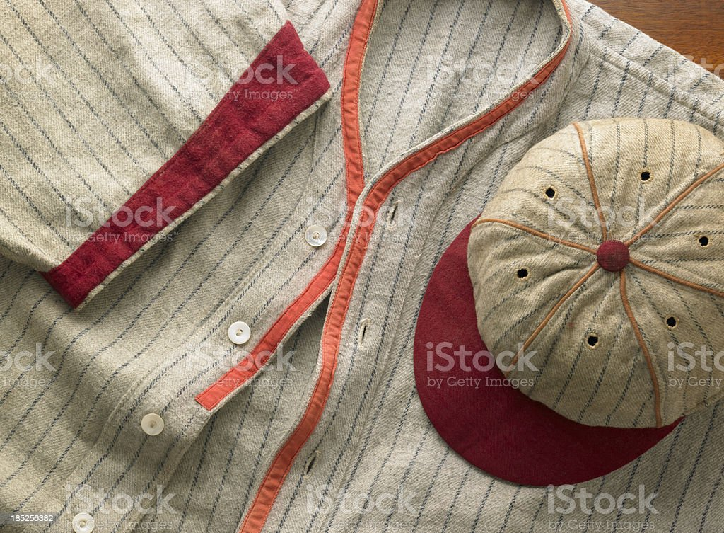 Old-time wool baseball uniform with cap stock photo