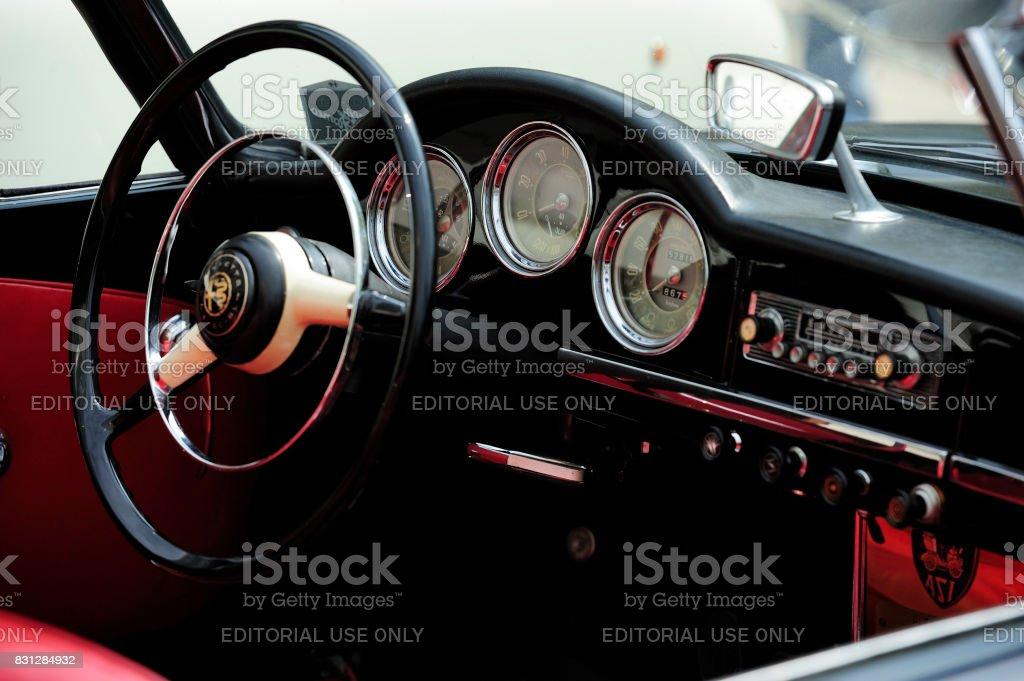 Old-timer Alfa Romeo dashboard stock photo