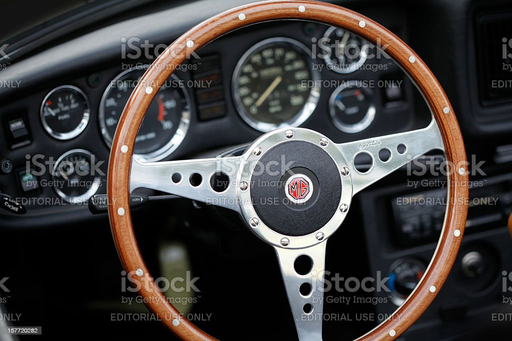 MG Oldtimer Cockpit stock photo