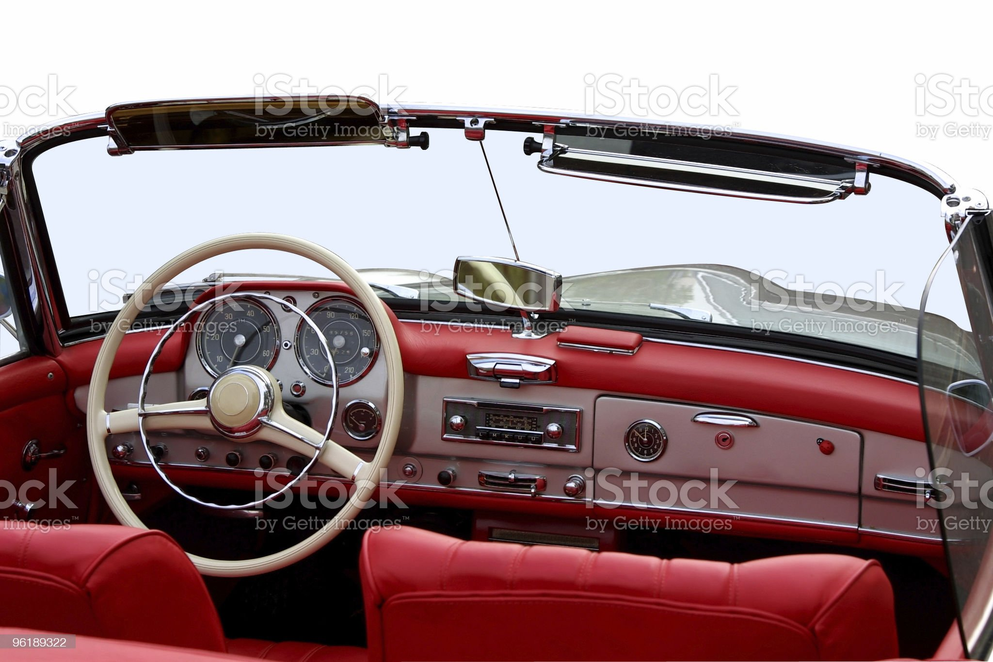 Oldtimer convertible luxury car cockpit (with clipping pa royalty-free stock photo