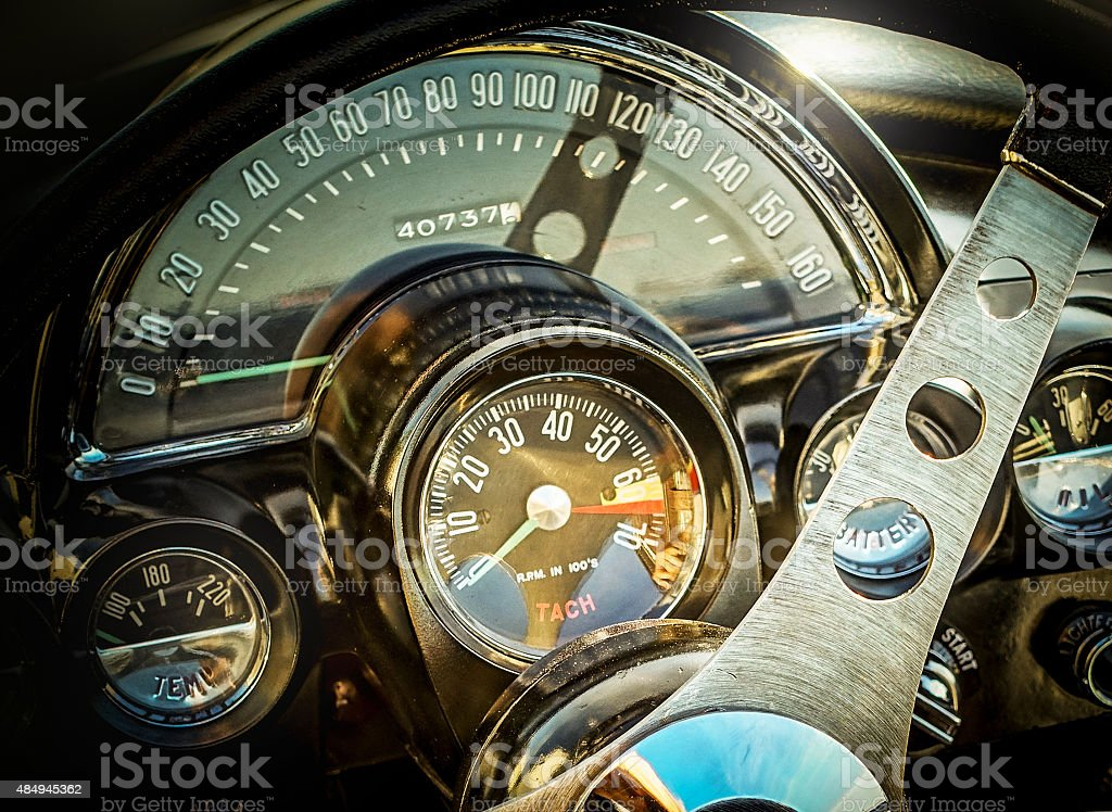 Oldtimer convertible vehicle interor stock photo