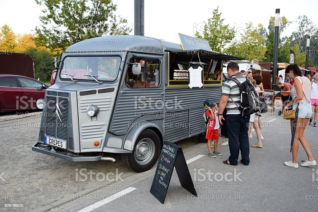 Oldtimer food truck on the street stock photo