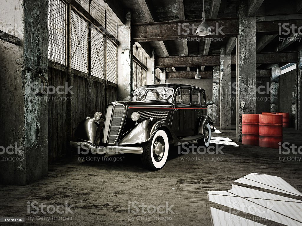 oldtimer in a hangar royalty-free stock photo