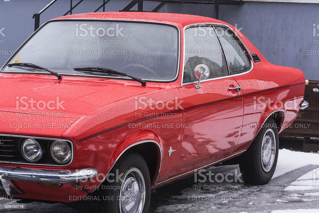 Oldtimer, red Opel Manta stock photo