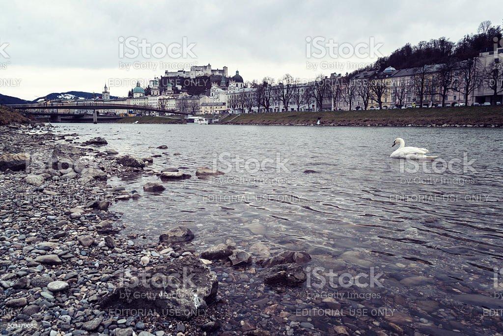 oldtown of salzburg with makart steg stock photo