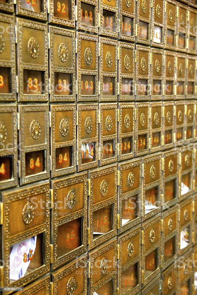 Old-World PO Boxes stock photo