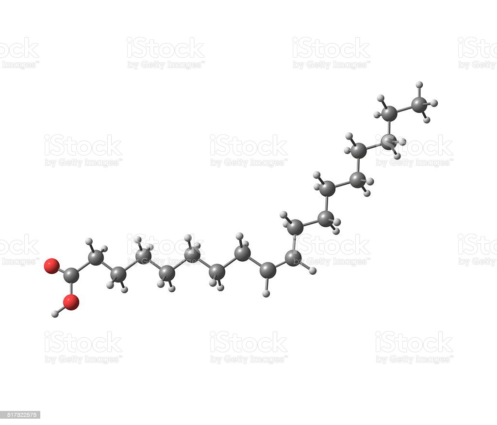 Oleic acid molecule isolated on white stock photo
