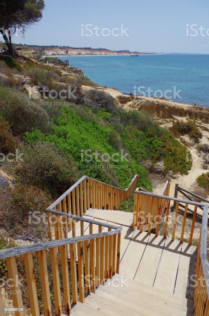 Olhos De Agua beach in algarve, Portugal stock photo