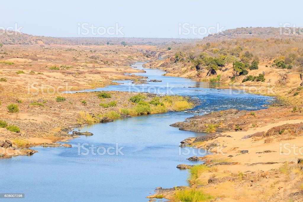 Olifants River panorama from Satara camp viewpoint, Kruger Natio stock photo