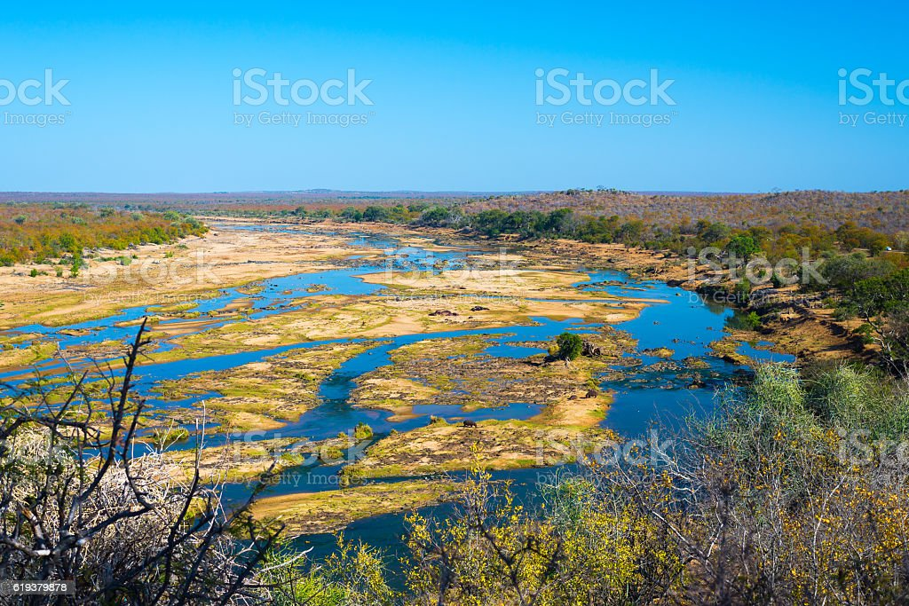 Olifants river scenic landscape in the Kruger National Park stock photo
