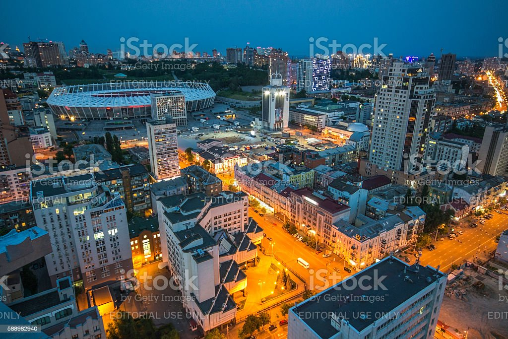 Olimpiyskiy stadium Kiev stock photo
