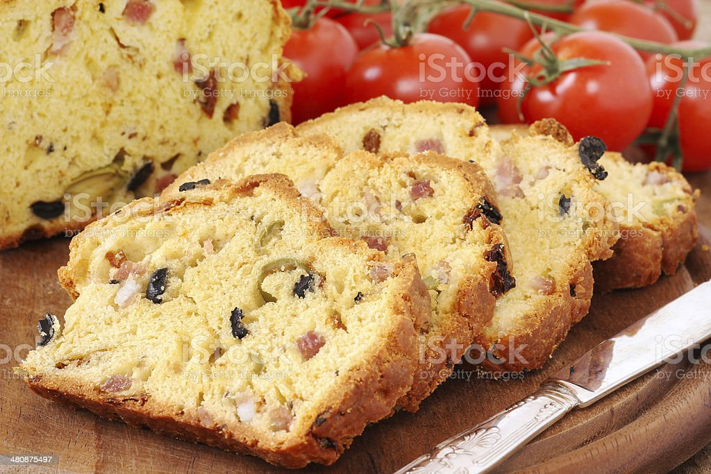 Olive and bacon loaf stock photo