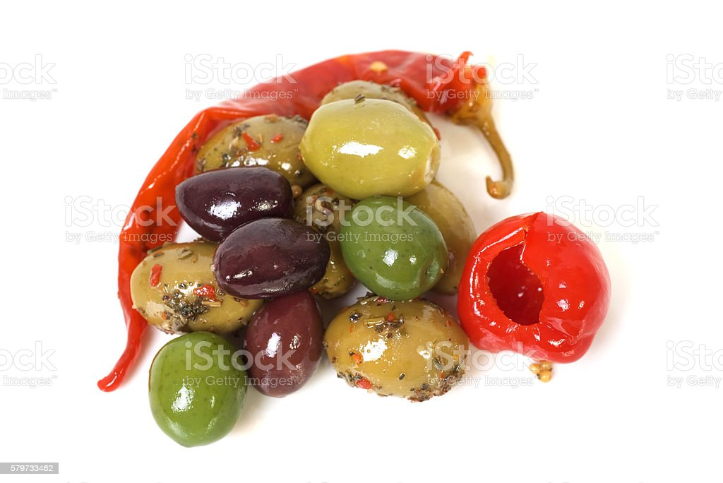 Olive and peppers on a white background stock photo