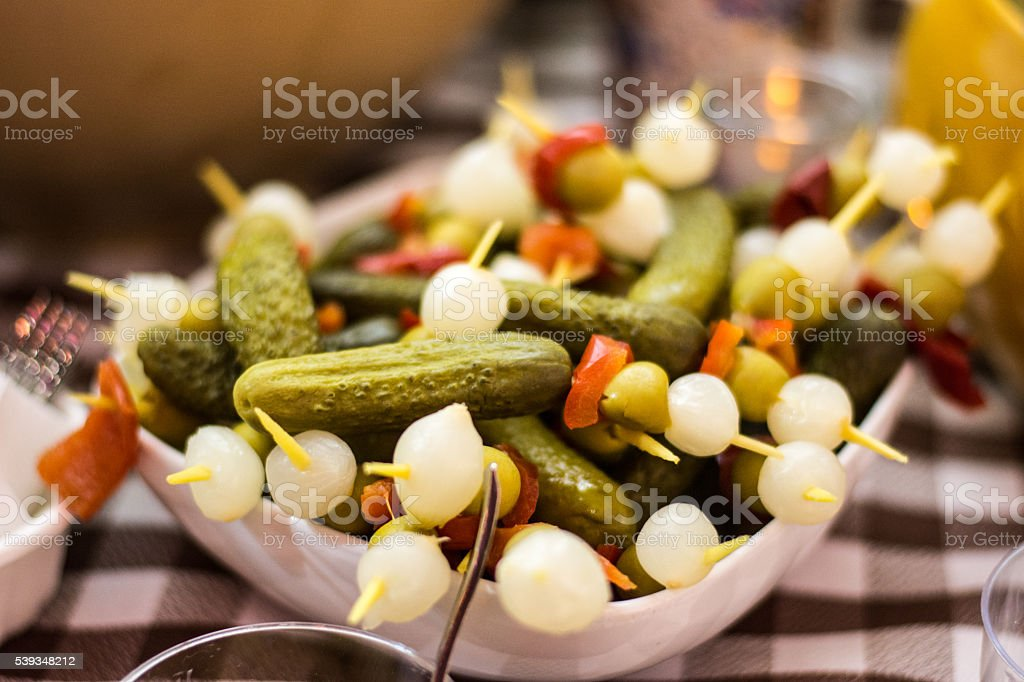 Olive and sweet onions skew stock photo