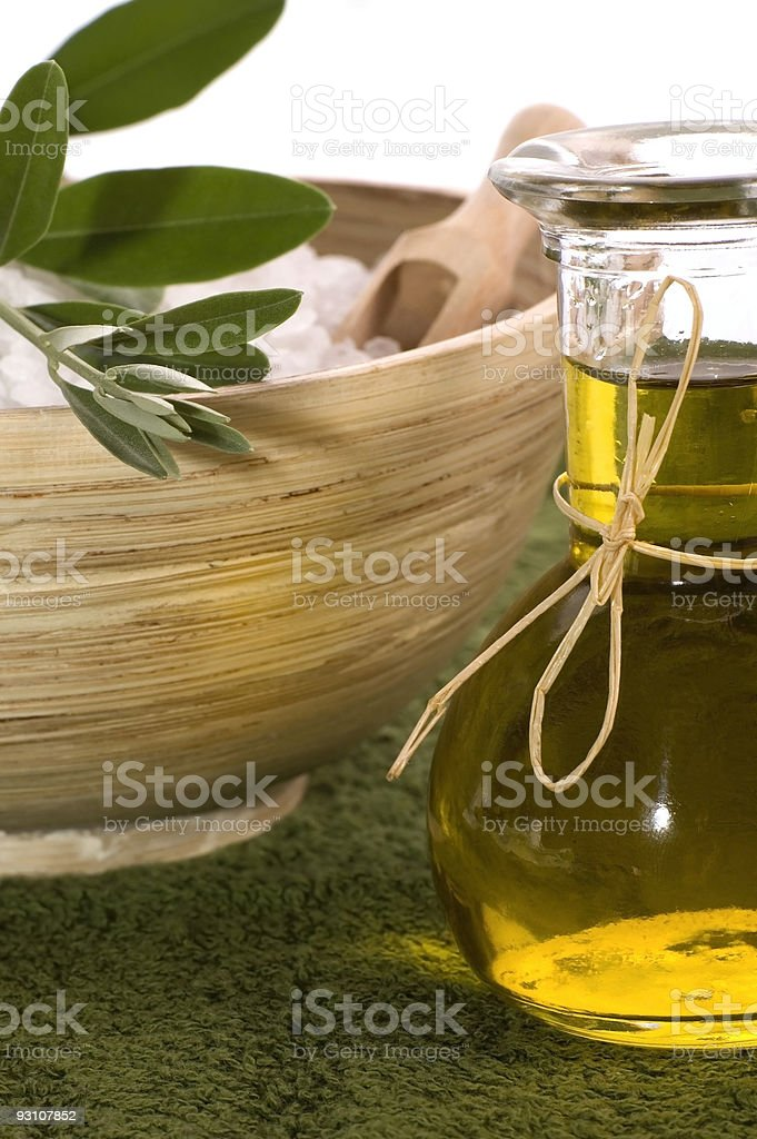 olive bath items royalty-free stock photo