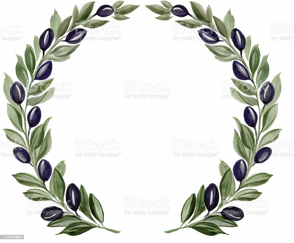 Olive branch wreath stock photo