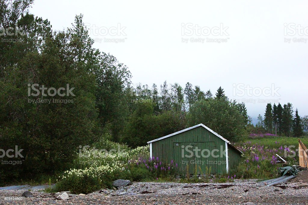 Olive Green Shed On The Shores Of A Norwegian Fjord stock photo
