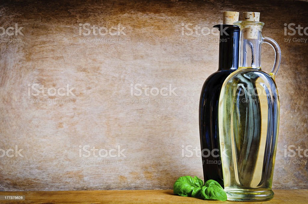 Olive oil and balsamic vinegar stock photo
