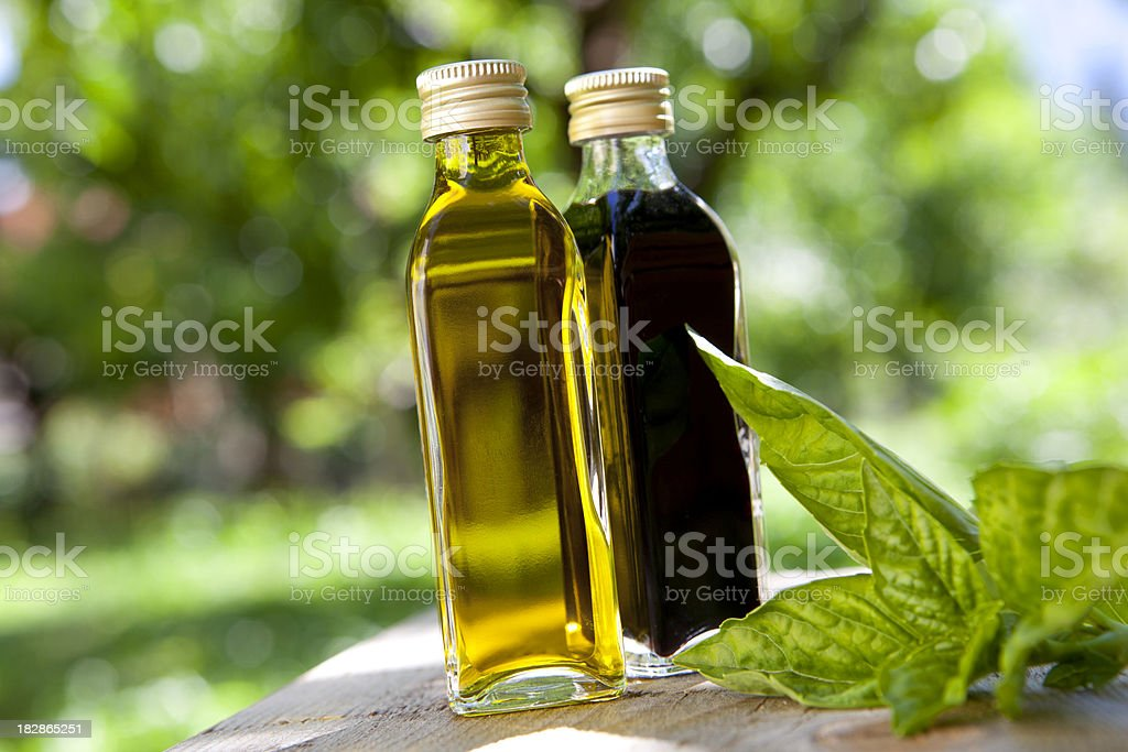Olive oil and balsamic vinegar stock photo