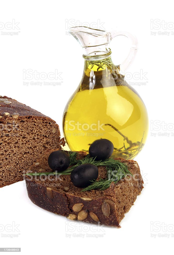 Olive oil and bread. stock photo