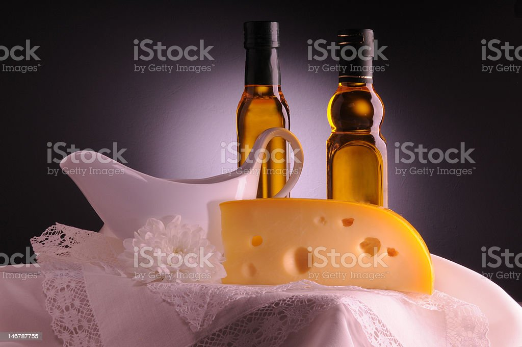 Olive oil and cheese royalty-free stock photo