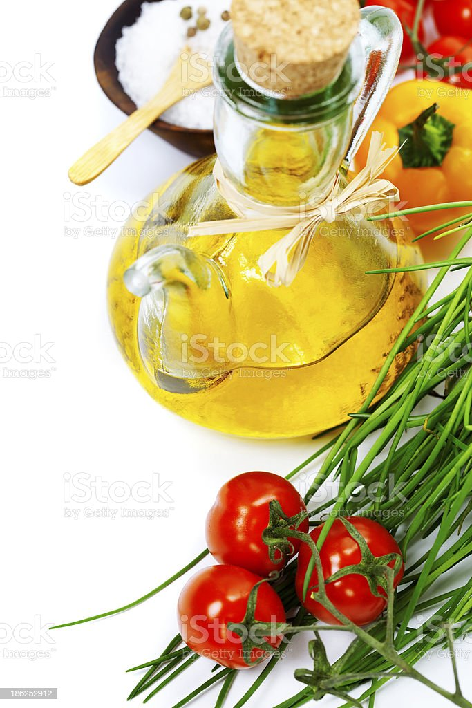 Olive oil and ingredients royalty-free stock photo