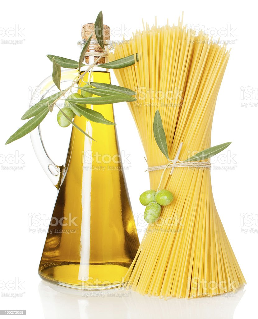 olive oil and  spaghetti royalty-free stock photo