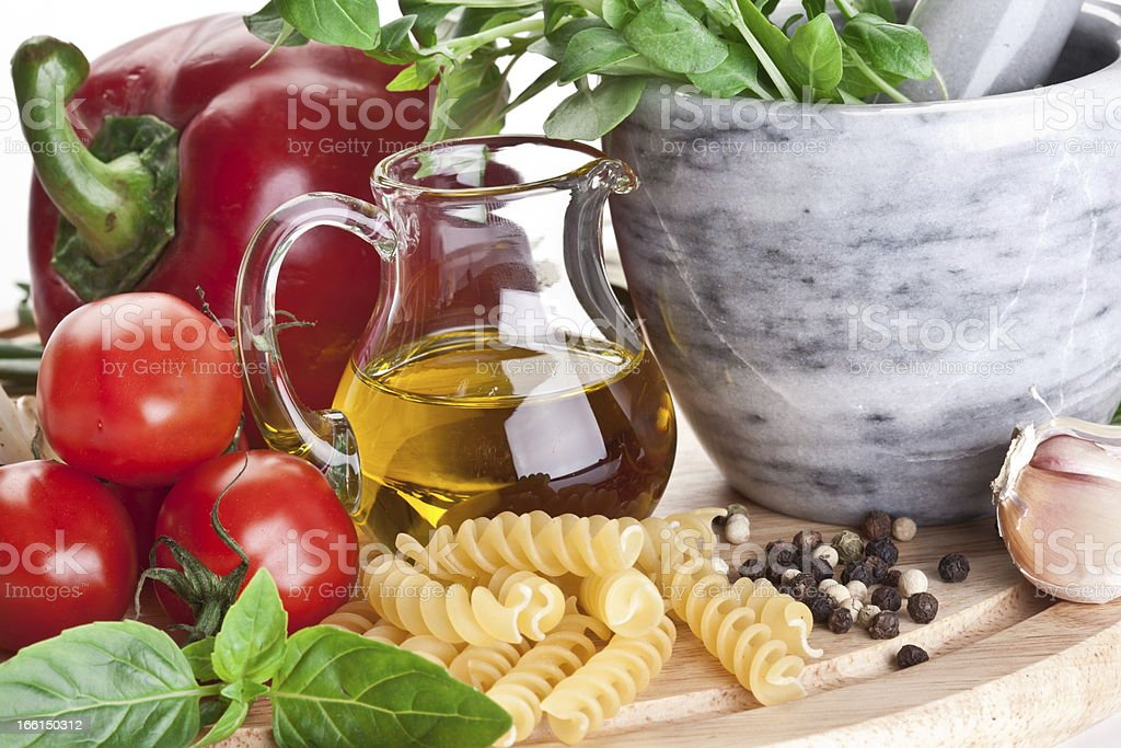 Olive oil and vegetables. royalty-free stock photo