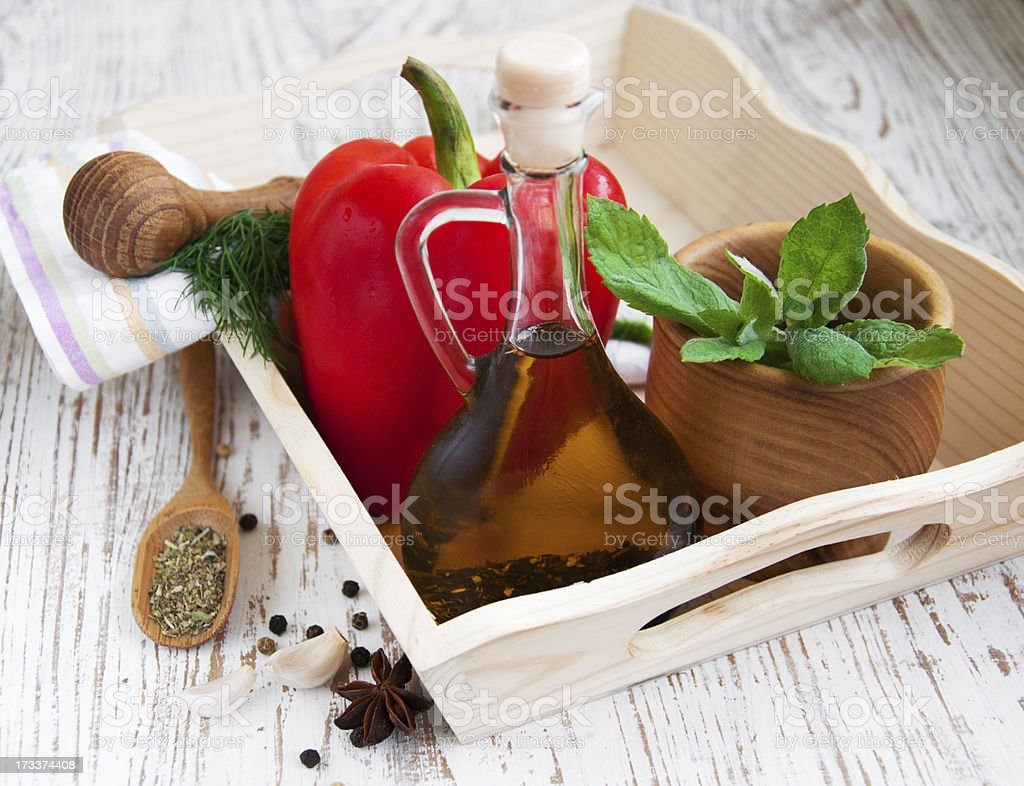 olive oil and vegetables royalty-free stock photo