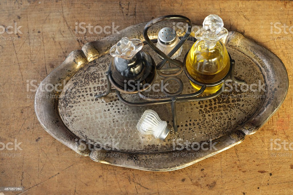 Olive Oil and Vinegar on Stand stock photo
