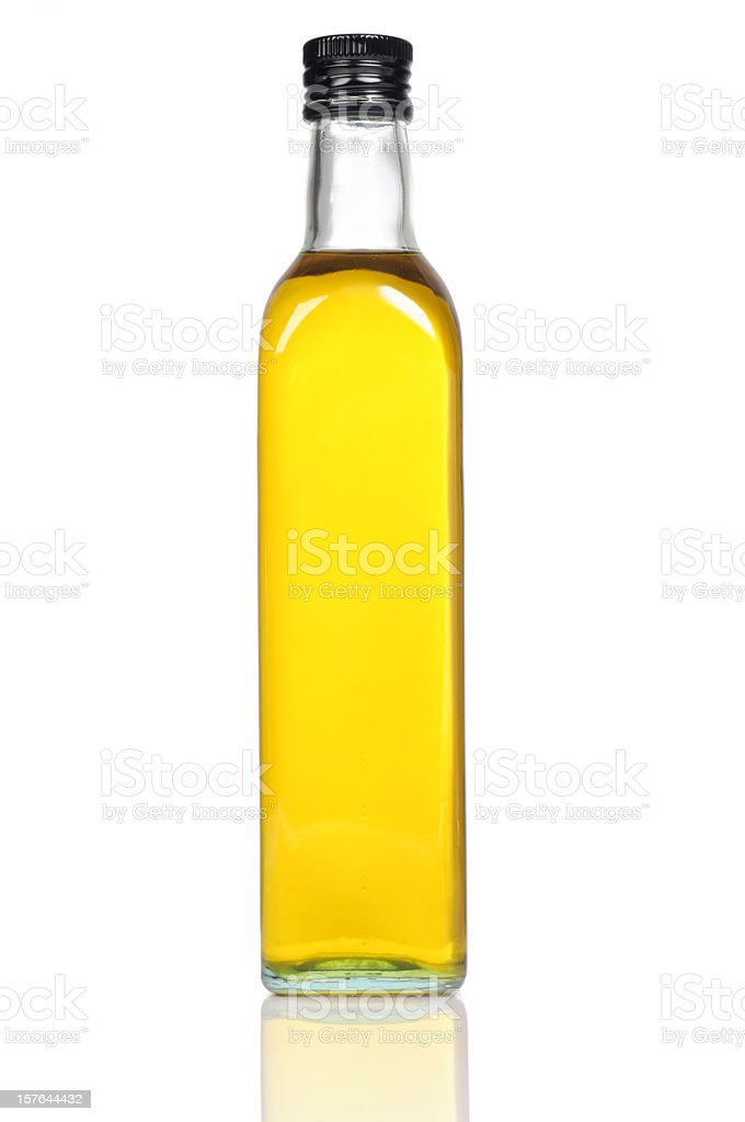 Olive Oil Bottle Close-up stock photo