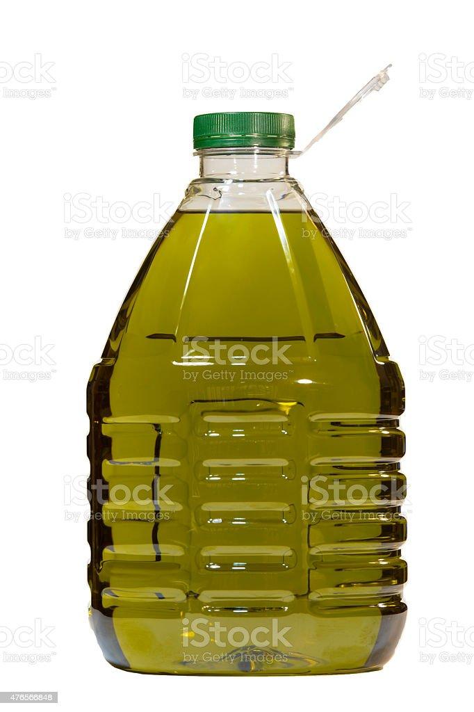 Olive oil bottle isolated over white background stock photo