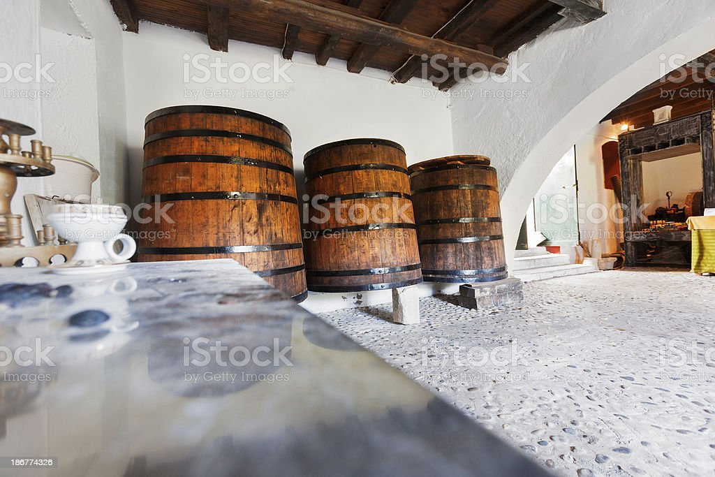 Olive oil cellar stock photo