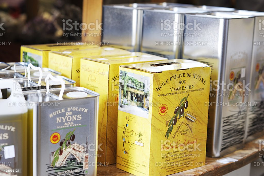 Olive oil containers in Provence, France stock photo